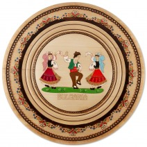 Wooden saucer with household pyrography - 33 cm
