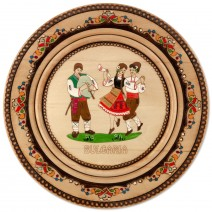 Wooden saucer with household pyrography - 25 cm
