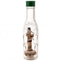 A souvenir bottle with a mini wooden figurine