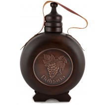 Wooden wine vessel with thread and copper insert - 0,5 liter