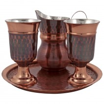 Copper service for brandy with 2 cups