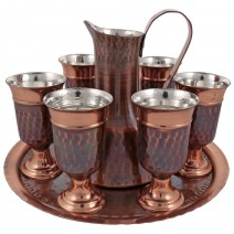 Copper service for brandy with 6 cups