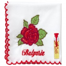 Handkerchief embroidered with vial - Rose