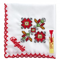 Handkerchief embroidered with vial - Embroidery