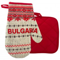 Set of glove and hand grip for hot with Bulgaria print
