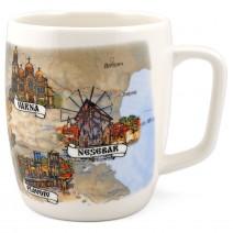 Ceramic souvenir cup of barrel with collage Bulgaria