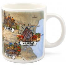 Porcelain mug souvenir cup - medium with collage Bulgaria + coat
