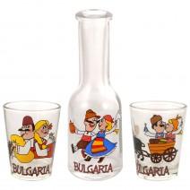 Glass souvenir bottle 100ml - set with 2 cups - fun folklore