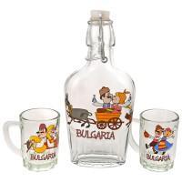 Glass souvenir flat bottle - set with 2 cups - fun folklore