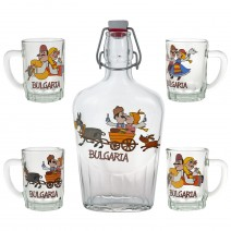 Glass souvenir bottle - set with 4 cups - fun folklore
