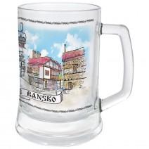 Glass souvenir mug of collage Bansko, winter resorts