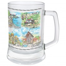 Glass souvenir mug of seaside collage Bulgaria