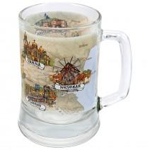 Glass souvenir mug with collage Bulgaria