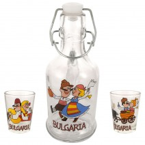 Glass souvenir bottle with handle - set with 2 cups - fun folklore