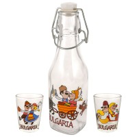 Glass souvenir square bottle - set with 2 cups - fun folklore