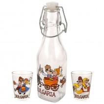 Glass souvenir square bottle - set with 2 cups - fun folklore