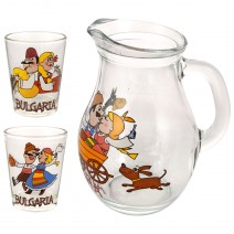 Glass small jug 250 ml - set with 2 cups - fun folklore
