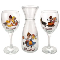 Glass souvenir carafe - set with 2 cups - fun folklore