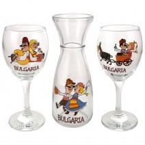 Glass souvenir carafe - set with 2 cups - fun folklore