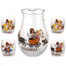 Glass big jug 500 ml - set with 4 cups - fun folklore