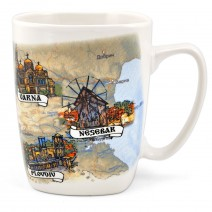 Porcelain square mug with a collage of Bulgaria