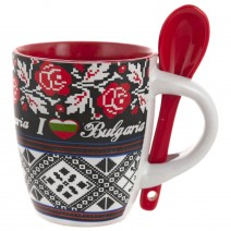 Ceramic souvenir cup with a spoon - small size