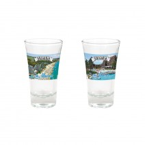 Glass souvenir cup - 9 cm - with different views from Bulgaria