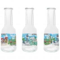 Glass souvenir bottles 50 ml - set 3pcs. - collage different views from Bulgaria