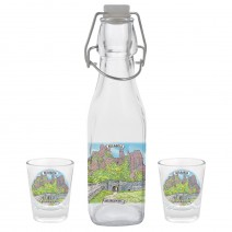 Glass souvenir square bottle - set with 2 cups - collage different views from Bulgaria