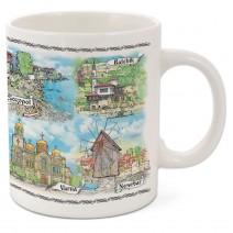 Porcelain mug souvenir cup - medium with collage Bulgaria