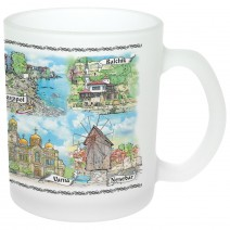 Glass souvenir cup - mat - collage Bulgaria and Black Sea coast-north or south