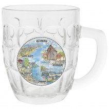 Glass beer mug big size with seaside north and south views
