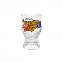 Glass souvenir cup Tulip - 8 cm - yellow and flag map of Bulgaria
