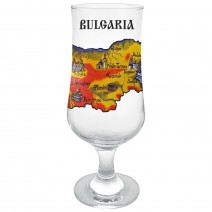 Glass beer souvenir cup with two kinds of map of Bulgaria