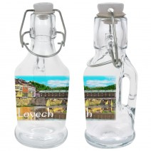 Glass souvenir bottles with handle - set 2pcs. - collage different views from Bulgaria