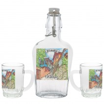 Glass souvenir flat bottle - set with 2 cups - collage different views from Bulgaria