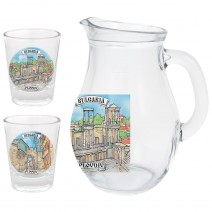 Glass small jug 250 ml - set with 2 cups - collage different views from Bulgaria