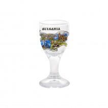 Glass mini souvenir cup - 6 cm - collage Bulgarian Black Sea coast