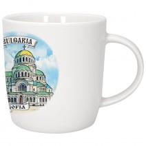 Porcelain souvenir cup with different views