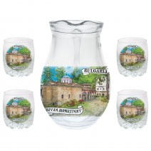 Glass big jug 500 ml - set with 4 cups - collage different views from Bulgaria