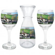Glass souvenir carafe - set with 2 cups - collage different views from Bulgaria