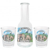 Glass souvenir bottle 100 ml- set with 2 cups - collage different views from Bulgaria