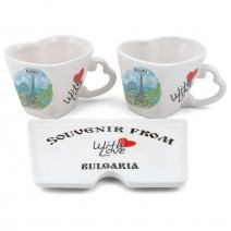 "Souvenir set of hearts with saucer ""With Love Bulgaria"" - different resorts"