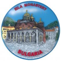 Souvenir plate Rila Monastery - painted - 14 cm