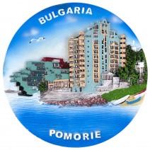 Souvenir plate Pomorie - 14 cm