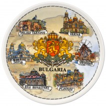 Porcelain souvenir plate - Bulgaria collage - 20 cm