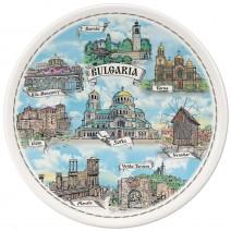 Porcelain souvenir plate - Bulgaria collage - 15 cm