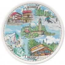 Porcelain souvenir plate - Bansko collage - 15 cm