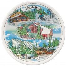 Porcelain souvenir plate - Borovets collage - 15 cm