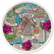 Porcelain souvenir plate - collage Southern Black Sea Coast - 15 cm